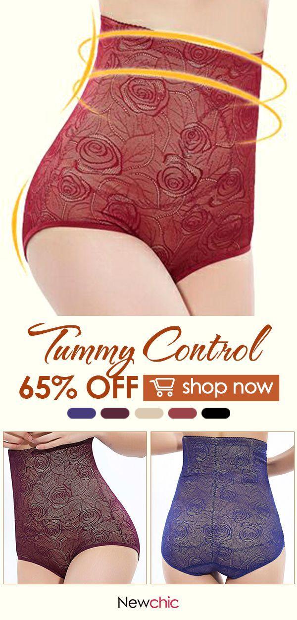 5c6f2237db124  US  11.89 High Waisted Tummy Control Jacquard Shapewear Panties  lace   shapewear  underwear