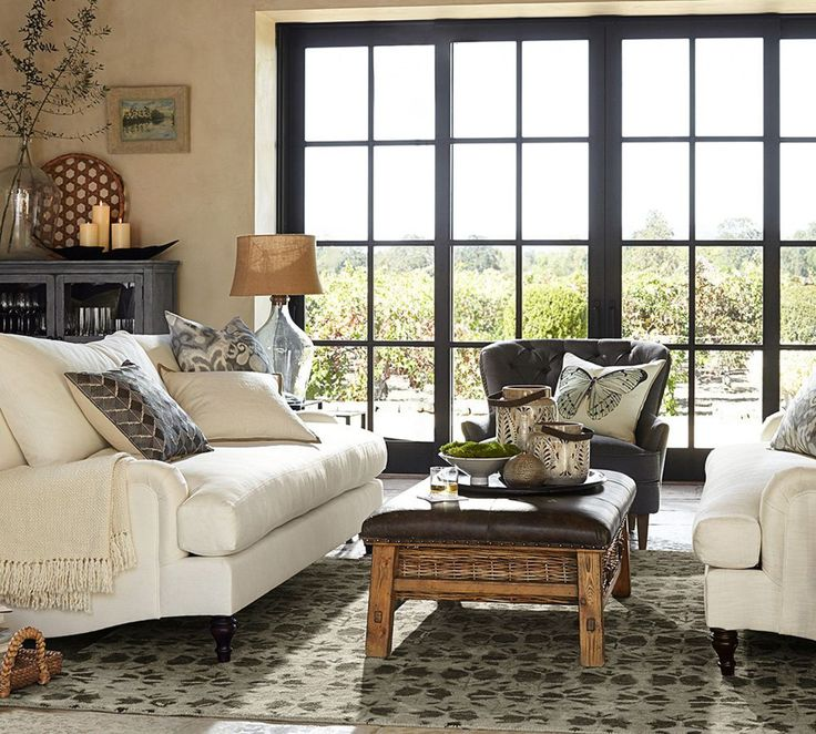 carlisle upholstered grand sofa with bench cushion 230 cm family roomstv roomsliving room decorationsliving - Pottery Barn Living Room Designs