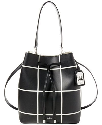 A sleek windowpane pattern and a removable strap take Lauren Ralph Lauren's Dryden leather drawstring bag from basic to chic. Plus, it comes with a removable pouch to keep your essentials within reach