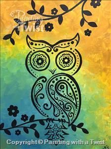Kids Camp: Paisley Owl *ALL AGES - Houston, TX - Sugar Land Painting Class - Painting with a Twist