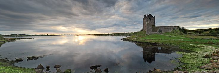 Sunset at Kinvara county Galway Ireland behind Dunguaire Castle. visit my web site www.lhandal.com