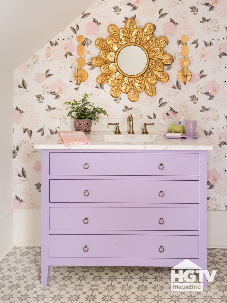 A a lavender vanity featured in HGTV Magazine