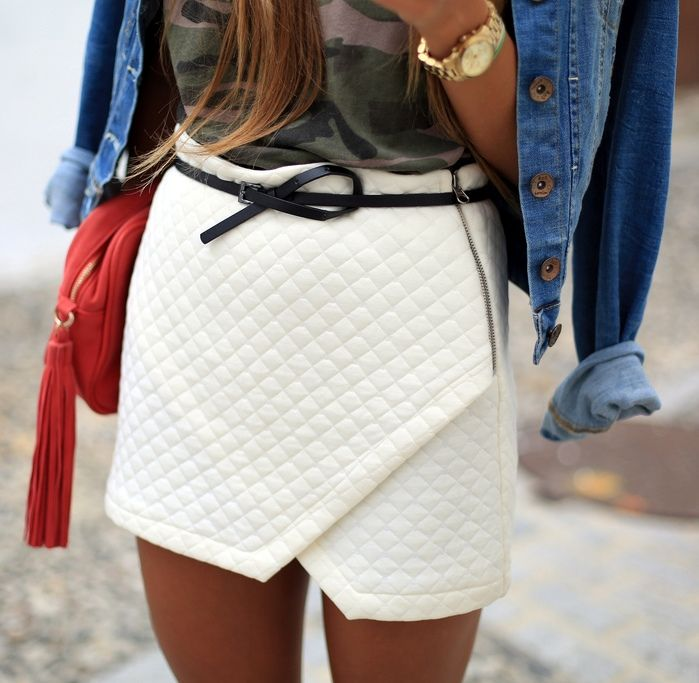Love this quilted skirt, feels like Chanel. Would dress it up though. Not dress…                                                                                                                                                     More