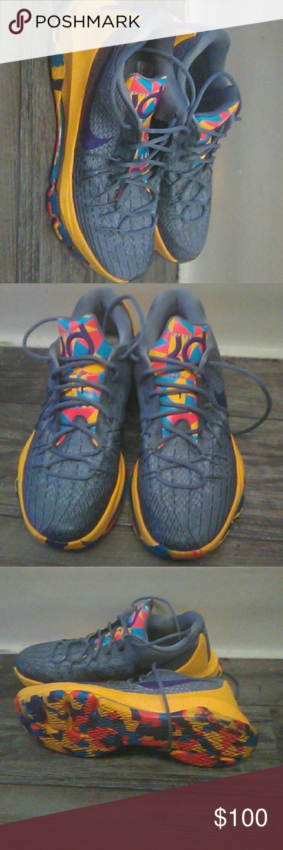 Kevin Durant , Nike tennis shoes Kevin Durant Nike grey, Gold, purple Nike Shoes Sneakers