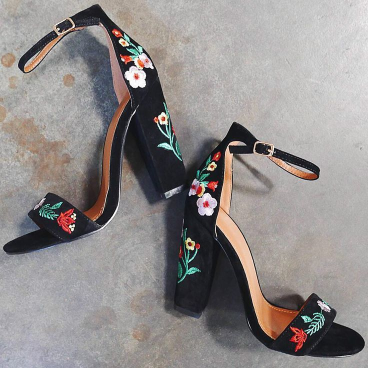Floral Embroidered Chunky High Heels