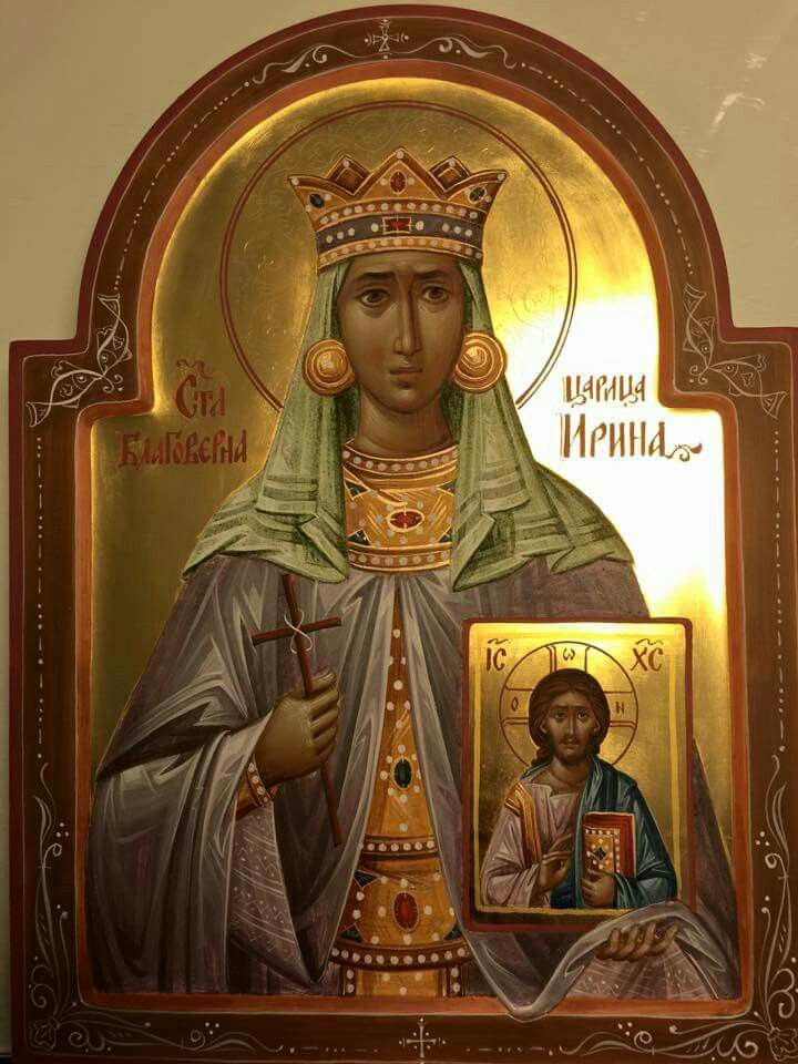 St. Irene of Athens was the wife of the Byzantine Emperor Leo IV and mother of Constantine VI, both strongiconoclasts. She ruled jointly with her son, Constantine, after the death of her husband Leo. Irene was a strong iconodule. She arranged the convening of the Second Council of Nicea in 787 that restored the practice of veneration of icons.