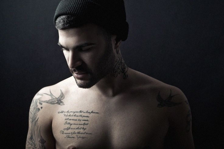 Male quote tattoo placement