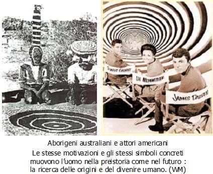 """""""Aborigeni australiani e attori americani. Le stesse motivazioni e gli stessi simboli concreti muovono l'uomo nella preistoria come nel futuro: la ricerca delle origini e del divenire umano."""" (Walter Maioli)"""