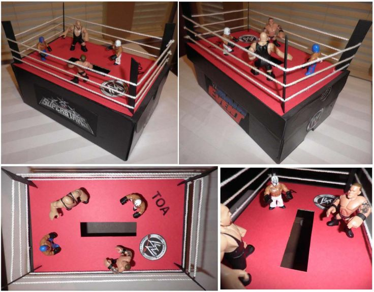 Valentine's Card Box: shoe box, black spray paint, black acrylic paint, paint brush, jumbo craft (popsicle) sticks, glue stick, clear drying liquid glue, scissors, X-Acto knife, red card stock paper, white paper, rope, Google Images search, printer, WWE Wrestling Rumblers Mini Figures.
