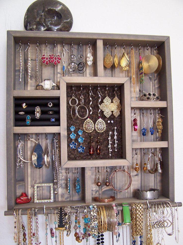 College Dorm Room Decor Jewelry Holder With Bracelet Bar by barbwireandbarnwood on Etsy https://www.etsy.com/listing/197781692/college-dorm-room-decor-jewelry-holder
