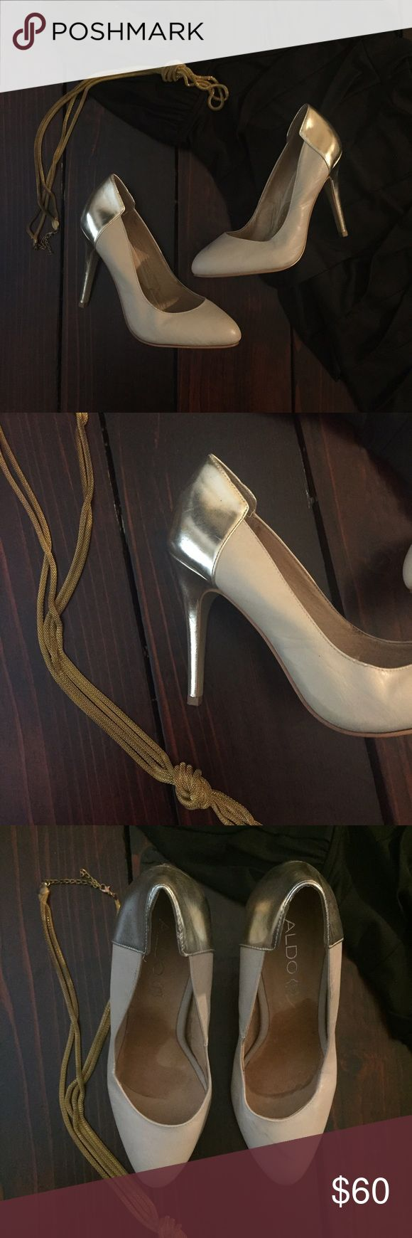 Aldo Leather Beige\ Gold pumps Like-new pumps. 4 inch heels Aldo Shoes Heels