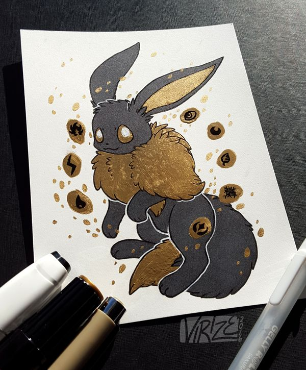 """Gilded Eeveelutions Series: Eevee "" I really like how Gilded Umbreon turned out from a few months ago so I figured ""lol I'm gonna turn this into a series and draw all the eeveelutions in this style cause it looks cool"" Life has been pretty tough and..."