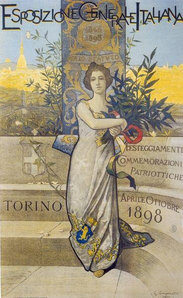 Manifesto dell'Esposizione Generale Italiana in Torino 1884. Cromolitografia su disegno di Francesco Gamba. (Archivio Storico Amma, Città di Torino)