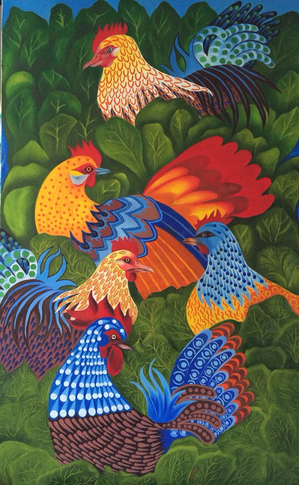 Chickens and rooster by fanny diaz, via Behance