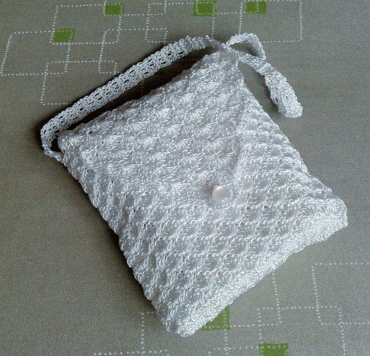 szydełkowa biała  torebka - Magnolia-dziergana - Torebki dla dziewczynek