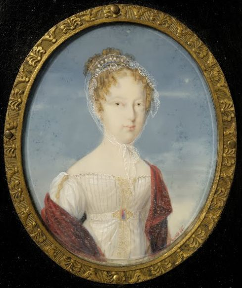 Miniature of Maria Leopoldina of Austria, Empress of Brazil and Queen of Portugal. She was the fifth child and fourth daughter of Francis II and his second wife, Maria Theresa of Naples and Sicily. The miniature was done in 1821; by that time she had been married to the future Pedro I of Brazil for four years, and had three children. She would sadly die following a miscarriage, five years after the miniature was painted.