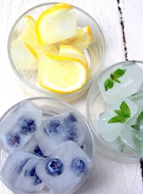 Fruit in ice cubes.