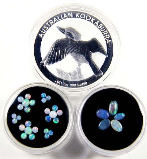 2011 TREASURES OPAL & KOOKABURRA SILVER COIN SERIES 21-100 silver coin gemstone set opals