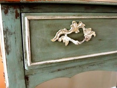 Chalk paint in duck egg blue and old white on this small curio cabinet.