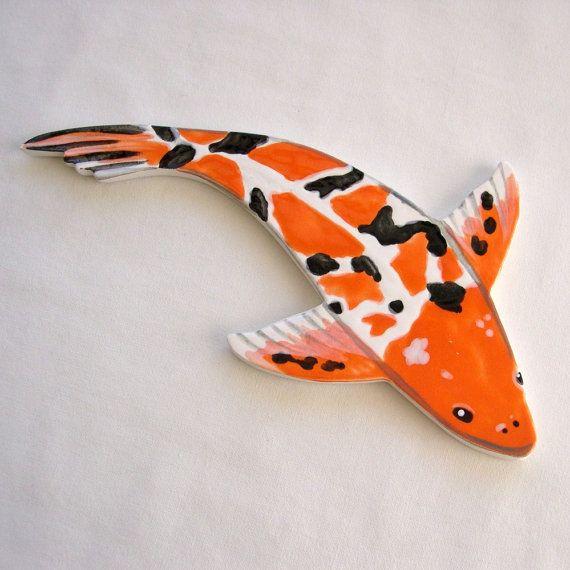 10 best images about koi handmade koi ceramic mosaic for Clay koi fish