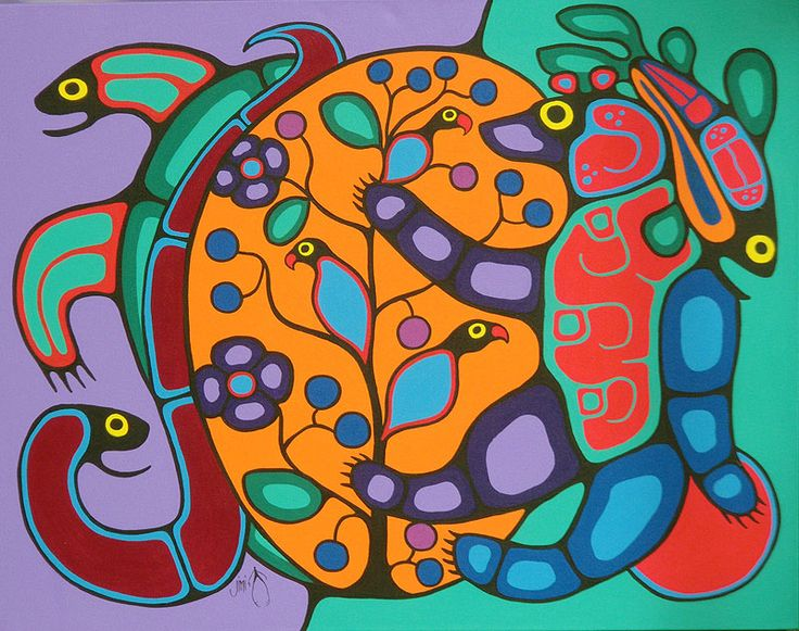 First nations ojibway woodland art in the style of norval morrisseau by jim oskineegish shaman ojibwe artist of the contemporary woodland art movement