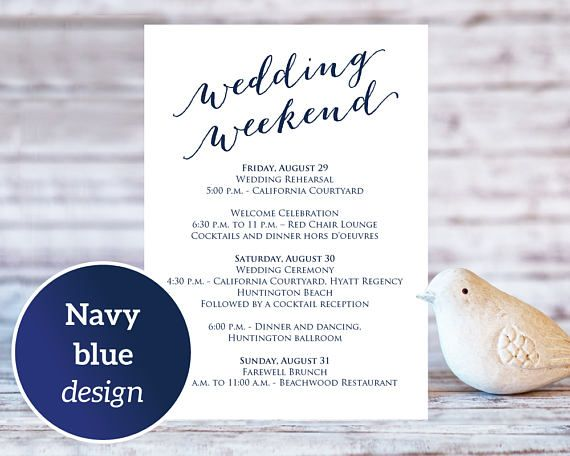 purchase this listing to instantly download edit and print your own wedding weekend details wedding weekend itinerarycard templatesinvitation