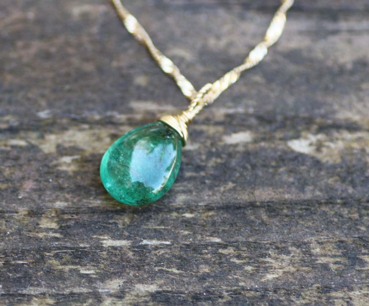 Natural Zambian Emerald Briolette Pendant in Solid 18K Yellow Gold , May Birthstone , 20th 55th Anniversary , Healing Gem  , Wire Wrap by JuJuBeJewels on Etsy