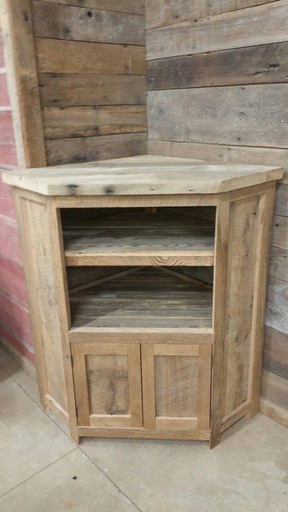 Custom Made Rustic Barn Wood Corner Entertainment Center Tv Stand