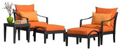 RST Brands Astoria 5-Piece Metal Patio Chat Furniture Set - Orange
