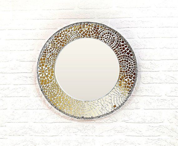 Round Mosaic Mirror 15 Small Wall Mirror Mosaic Frame Mirror Made To Order Mirror Mosaic Small Wall Mirrors Mirror