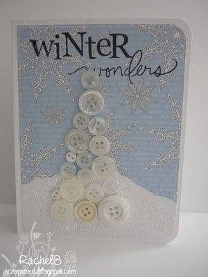 Shabby Button Tree Christmas Card... Lily Pad Cards.