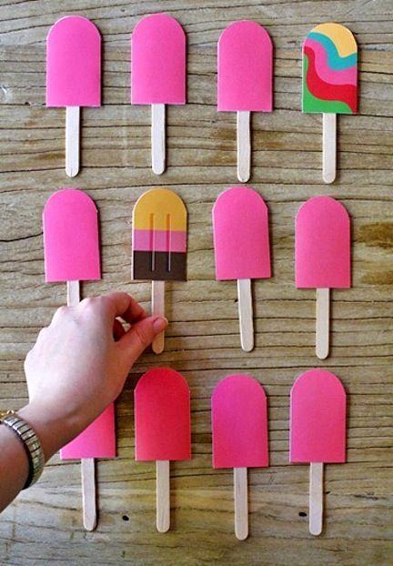 Dit is een zeer leuk spel op met de peuters te spelen. Memory kan je zelf maken zoals de ijsjes hier boven. Maar je kan het ook kopen in de winkel.