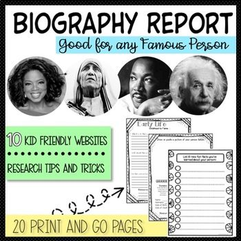 Do you want to teach your students how to compile an excellent biography report on a famous person this year? If so, please check out my newly revised biography report package!   In this easy print and go pack you will receive over 20 pages to help your students on their research journey: These pages include: Easy Teacher Directions Common Core Standards for Researching in 3rd, 4th and 5th grades An 8 page introduction to internet research printable pack which includes: ...