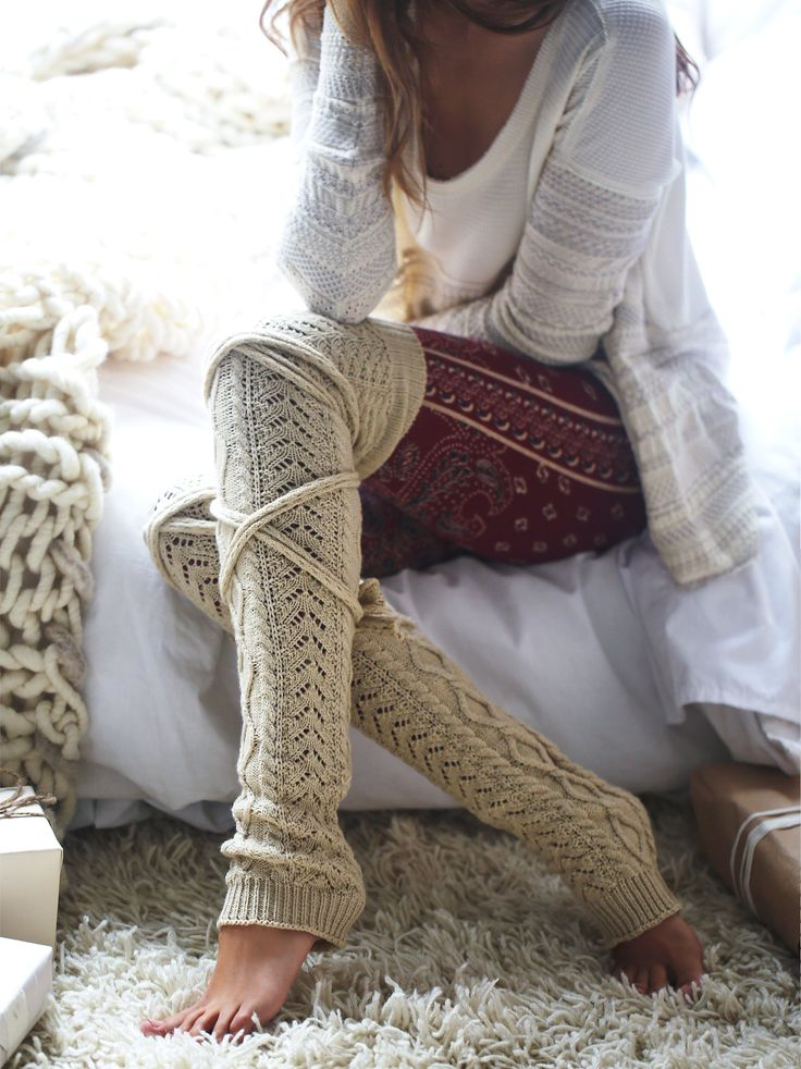 Chambers Wrap Legwarmer | Cozy heavy-knit thigh high legwarmers with long tie accents.