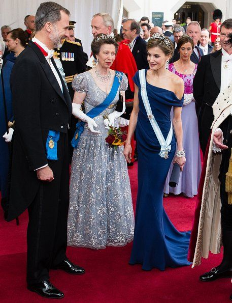In the evening of July 13, King Philippe, Queen Letizia and Princess Anne attended the Guildhall banquet hosted by Andrew Parmley, Lord Mayor of the City of London at Guildhall (The ceremonial and administrative centre of the City of London) in London, on the second day of the Spanish King and Queen's three-day state visit.