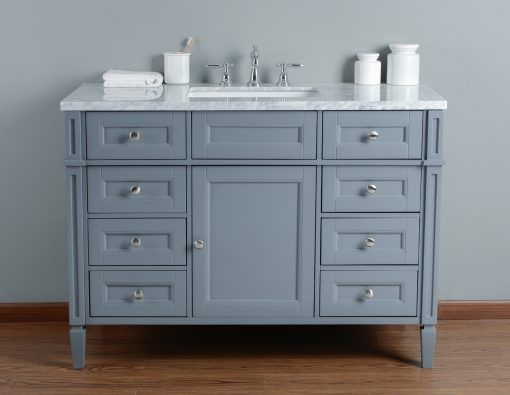 48 Inch Grey Single Sink Transitional Bathroom Vanity With Marble