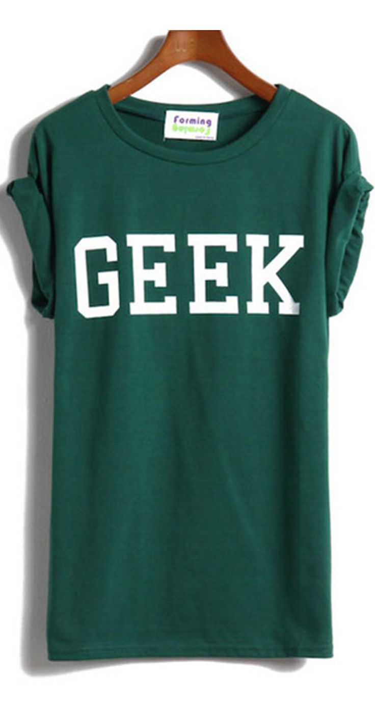 ♪GEEK Print Green T-Shirt.♪ Half sleeve ,roung neck shirt cheap.♪T shirt printing , letter printed cotton tee shirt .♪Buy T shirt online cheap shirt at ROMWE .♪Funny design shirt streetwear summer t shirt women .Summer casual street outfit !