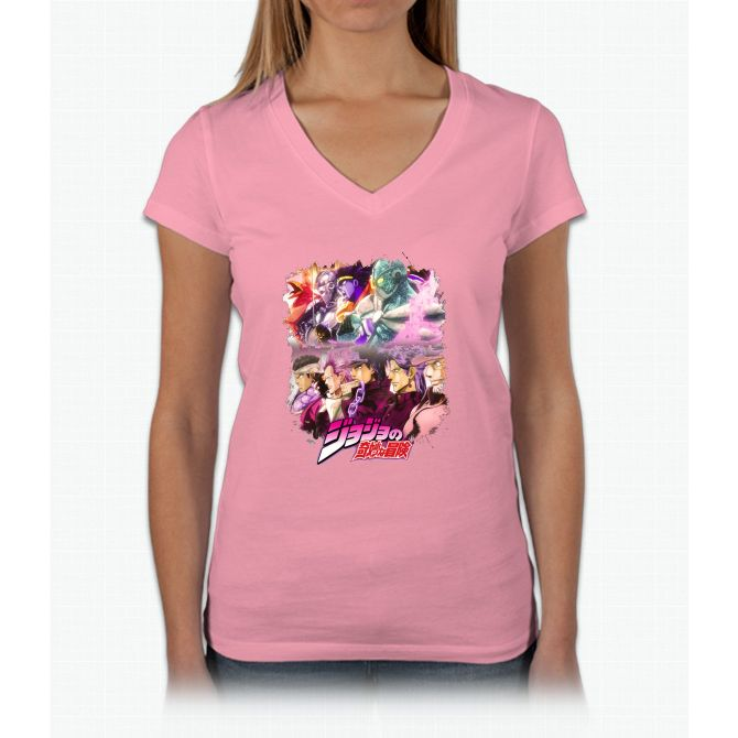 JoJo's Bizarre Adventure - Stardust Crusaders Japanese Logo Womens V-Neck T-Shirt