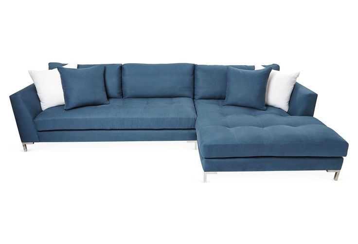 Owing its distinctive style to midcentury design, this two-piece chaise sectional is built of sustainable alder hardwood that's wrapped in crisp Belgian linen. Pillows included. Handcrafted in the...