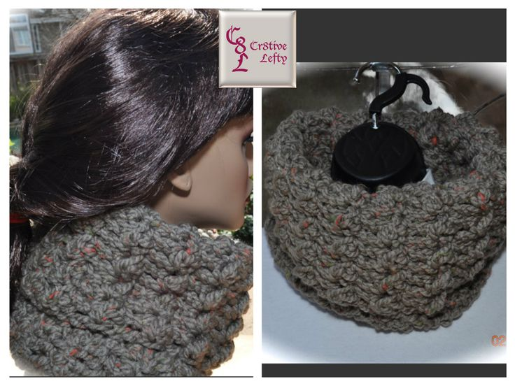 Calling all Outlander fans !!  This taupe cowl is inspired by the character Claire Fraser. It is created using very soft bulky yarn and is easy to care for because it is machine washable.  The stone color, with orange and yellow flecks, makes this a welcome accessory to any outfit.  It is very versatile and can be worn either folded in half (as shown), or unfolded. Handmade in the USA. $22.00 + shipping. #outlander #crochet #handmade