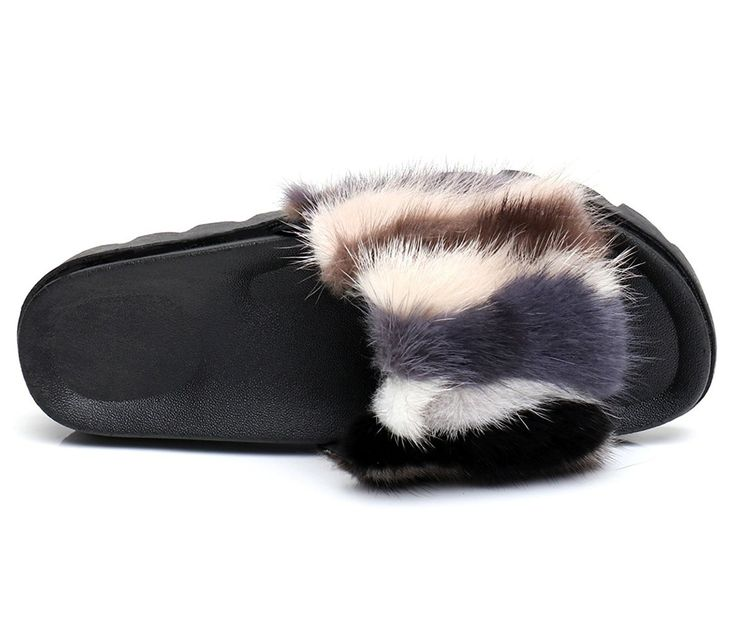 ZZURCCA Women Slides Slippers, Real Mink Fur Slide Sandals With Arch Support Open Toe Soft Girls Indoor Outdoor Shoes, Multicoloured ** Check this awesome product by going to the link at the image. (This is an affiliate link) #womenshoe
