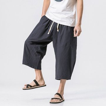 d67eda238 Mens Summer Breathable Cotton Linen Solid Color Calf Length Baggy Loose  Drawstring Casual Shorts