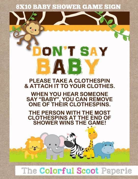 Instant Download Jungle Baby Shower Don T Say Baby Game Don T Say