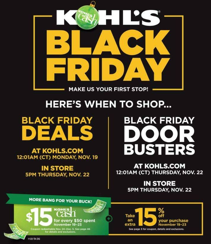 Kohls Black Friday Store Hours Find Out When Kohls Black Friday Deals Start Black Friday Ads Kohls Black Friday Black Friday