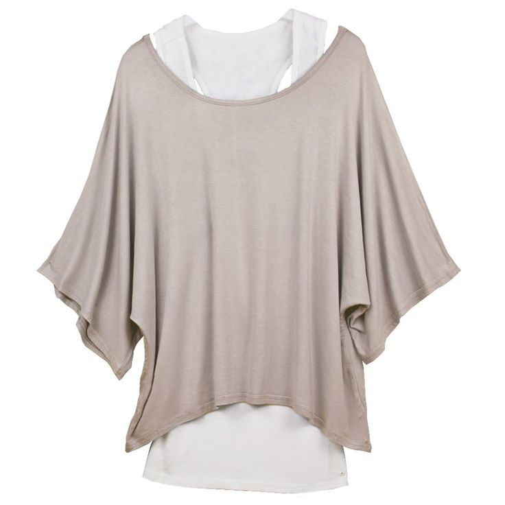 DJT Fashion 2 in 1 Layered Batwing Dolman Style Women Tank Vest Top Blouse Sweartshirt Tee T-Shirt Beige White Size L UK 12 14: Amazon.co.uk: Clothing