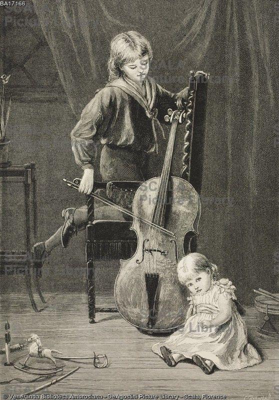 ******** Per un soffio (In for a scrape), un bambino suona il violoncello, di Kate Perugini (1839-1929), illustrazione tratta dalla rivista The Graphic, volume XIX, 11 gennaio 1879.