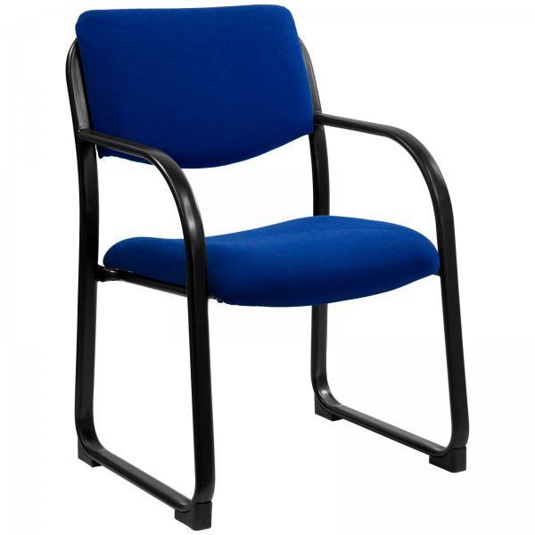"""Fabric Executive Side Chair with Sled Base (Navy Blue) (34""""H x 23""""W x 20""""D)"""