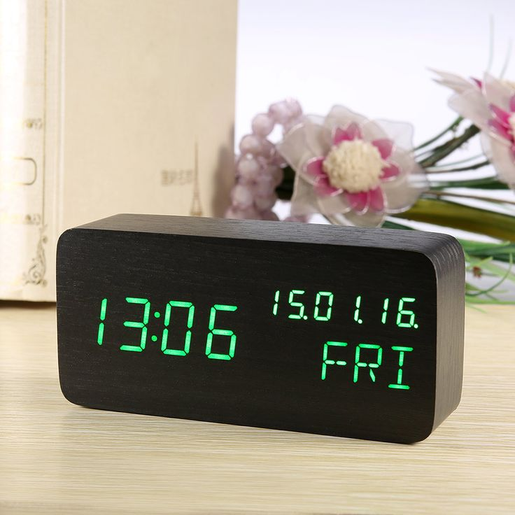 ==> [Free Shipping] Buy Best Wood Alarm Clock Led Display Electronic Desktop Modern Digital Clock Thermometer Calendar Table Clock Watch With Night Light USB Online with LOWEST Price | 32821493985