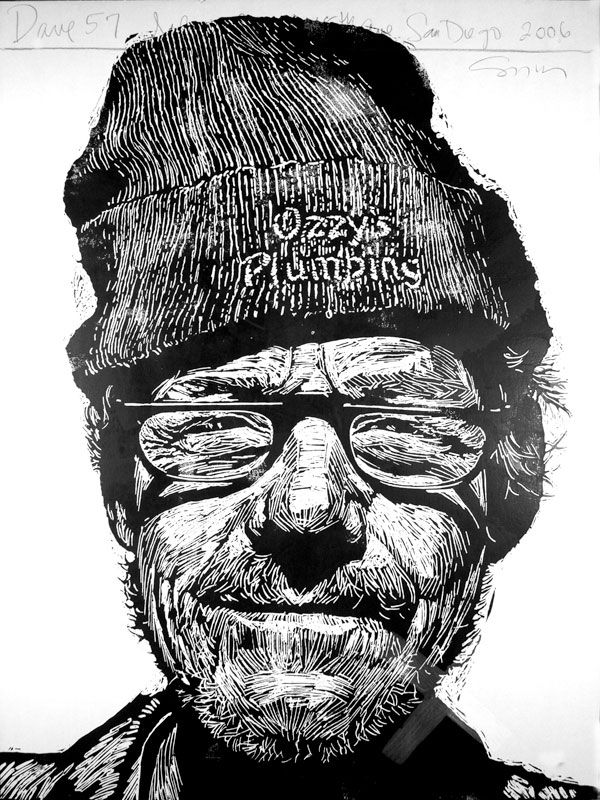 """""""Dave 57"""" print by Neil Shigley, (1955-) http://neilshigley.com/ Tags: Linocut, Cut, Print, Linoleum, Lino, Carving, Block, Woodcut, Helen Elstone, Profile, Portrait, Face, Man, San Diego, Large-Scale Printing, The Invisible People Series."""