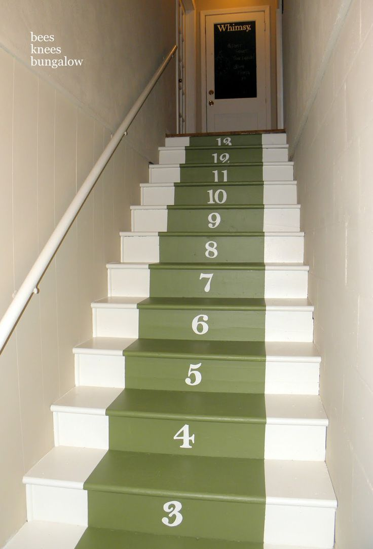Lighting Basement Washroom Stairs: 13 Best Painted Stairs Ideas Images On Pinterest